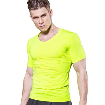 #1118 Mens V Neck Skinny Bodybuilding Gym Sports Run Compression Base Layers Under Tops T Shirts Thermal Tees Top Men  S-XXL