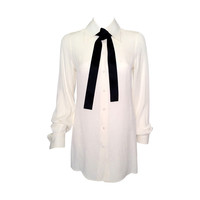 Dolce & Gabbana Silk Stretch Blouse With Silk Satin Tie