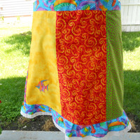 Colorful Tropical Fish Hippie Patchwork Festival Skirt knee length maxi skirt festival clothes up to plus size