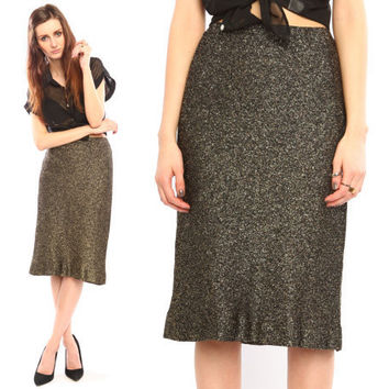gold Halston skirt // vintage 80s // lame metallic by shopCOLLECT