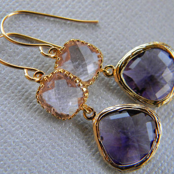 Plum and Champagne Earrings Trimmed in Gold-Bridesmaid Earrings-Bridal-Wedding-Gift For Her