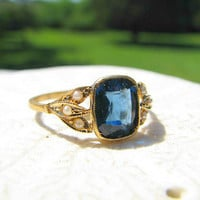 Antique 18K Gold Ring, Seed Pearl Studded Leaves, Beautiful Blue Faux Gem, Lovely Condition