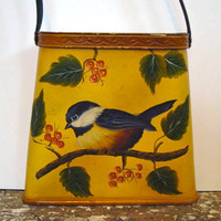 Vintage Hand Painted Purse Vintage Bird by VintageShoppingSpree