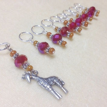 Giraffe Beaded Stitch marker set- Snag Free Knitting Markers- Knitters Gift Idea- Zoo Animal- Knitting Tools- Supplies