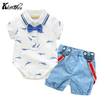 Trendy Kimocat Summer new gentleman bow-tie whale print crawler suit for baby boy handsome first year suspenders AT_94_13