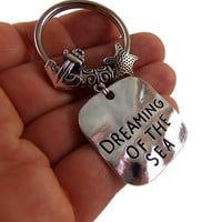 Beach keychain, Dreaming of the sea key chain, beach lover gift, anchor keychains, starfish keyring, beach quote key chains, mermaid quotes