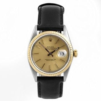 Rolex Mens 36mm Stainless Steel & Yellow Gold Datejust Swiss-Automatic Watch - 16013 - Champagne Stick Dial – Yellow Gold Fluted Bezel – Black Leather Strap (Certified Pre-Owned)