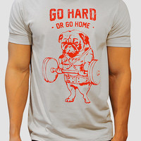 Go Hard Or Go Home T-shirt, Pug T-shirt, Workout Clothing, Gym tee