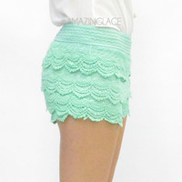 Mint Tastic Lace Crochet Layered Shorts
