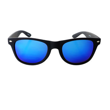 Reflective Mirror Lens Rubberized Matte Wayfarer Sunglasses W1890