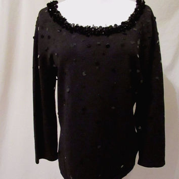 Talbots Sequin Scoop Neck Sweater Women's Large Black 3/4 Sleeves Great Detail