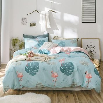 Cool 2018 Flamingo Leaves Blue Bedding Set Cotton Twin Queen King Size 3/4Pc Duvet Cover Flat Sheet/Fitted Sheet Pillow CasesAT_93_12