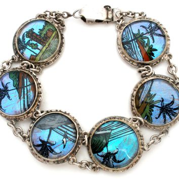 Vintage Bracelet Made With Butterfly Wings