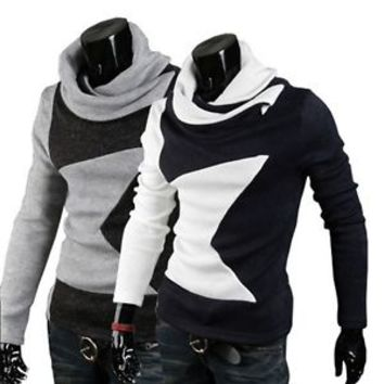 Jeansian Mens Turtleneck Knitwear Sweater Shirts Tops 2 Colors 4 Sizes  8824