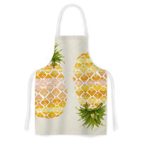 """Judith Loske """"Happy Pineapples """" Yellow Gold Artistic Apron"""