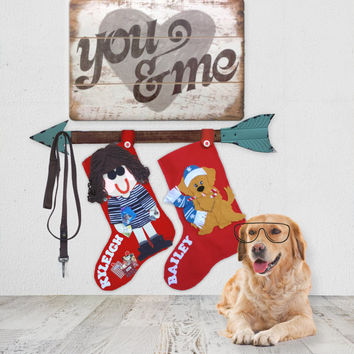 Personalized Christmas Stockings, Xmas Stockings, Red Felt Stockings, Christmas Stocking, Custom Christmas Stockings
