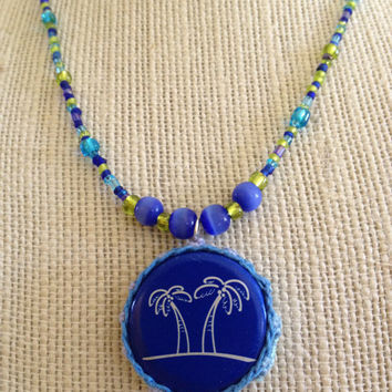 Palm Tree Bottle Cap Pendant with Blue and Green Glass Beads, Crocheted Bottle Cap Necklace