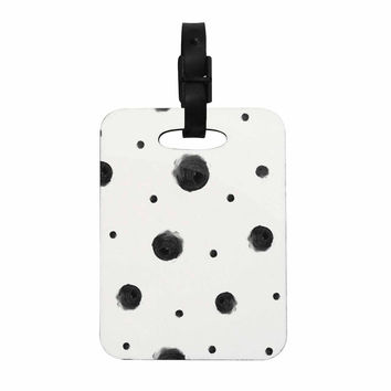 """Chelsea Victoria """"Black Dots"""" Pattern Abstract Decorative Luggage Tag"""
