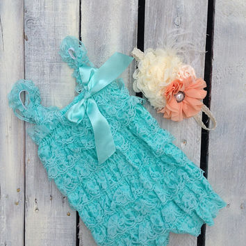 Romper, Lace Romper, Photo Prop, Photography Prop, Baby, Wedding, Headband, Baby Romper, Ivory Romper, Aqua, Ivory Lace Romper, Vintage Lace