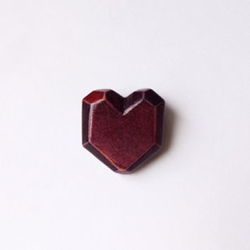 Wooden heart brooch, tiny geometric jewelry