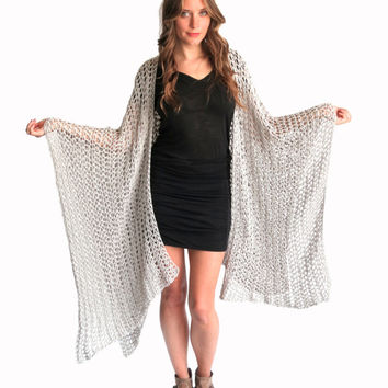 Loose Knit Crochet Poncho Beach Cover Up Wrap Cape Cardigan Ruana Boho // Playa Ruana in Penzance // Many Colors Available