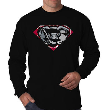 Alabama Crimson Tide Inspired Superman Logo Long Sleeve Men's T-Shirt Long Sleeve Men's Tees Men's Shirt