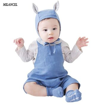 2017 Summer Baby Rompers Newborn Baby Boys Clothes Infant Girls Jumpsuit Cotton Linen Baby Girls Romper Summer Overall 2 Colors