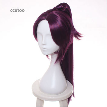 BLEACH Shihoin Yoruichi Purple Mix Long Straight Cosplay Wig With Chip Ponytail