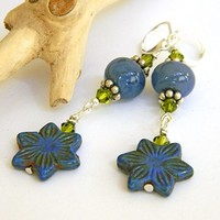 Blue Czech Star Flower Earrings Lampwork Green Crystal Short Handmade