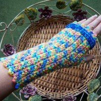 Variegated Mid Tone Colors Fingerless Gloves by itsmythingdesigns