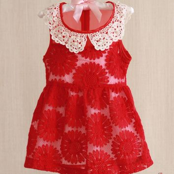 Red Daisy Lace Collar Dress