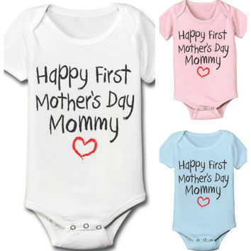 Happy First Mother's Day Mommy Baby Infant Onesuit Bodysuit