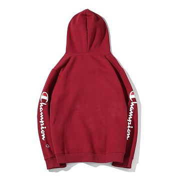 Champion autumn and winter models men and women loose arm printed letter hooded long-sleeved sweater Red