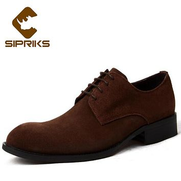 Sipriks Black Cow Suede Derby Shoes For Men Elegant Grooms Wedding Shoes Rubber Sole Mens Gents Shoes British Style Formal Shoes