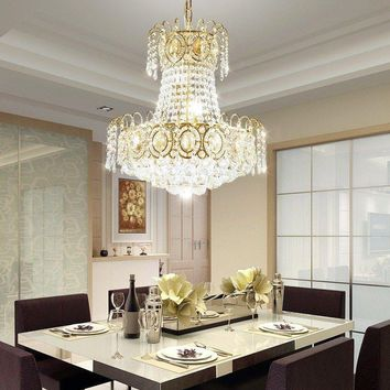 Modern Luxury Gold Palace LED Crystal Dining Room 45cm Ceiling Chandelier Lamp