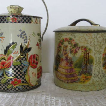 Vintage English Tin Containers, 2 Biscuit Containers Jars Tins, Made in England, Regal Romantic Crown, Cottage Chic Floral Candy Container