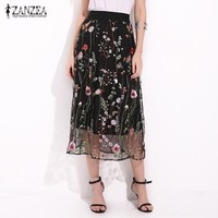 LMFONHC ZANZEA Women Vintage Skirts 2017 Summer Boho Elegant Black Floral Embroidered Mesh Overlay Midi A Line Skirts Plus Size S-5XL