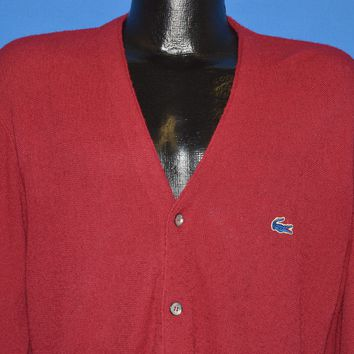 80s Izod Lacoste Maroon Cardigan Sweater Medium