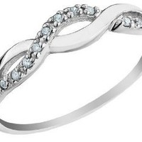 Infinity Diamond Promise Ring in 10K White Gold: Jewelry: Amazon.com