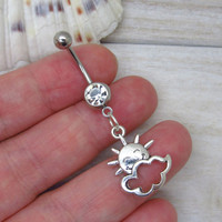 Antique silver sun and cloud belly button ring ,sun and cloud navel piercing, belly button ring jewelry,unique gift