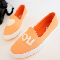 I Love You Orange Candy Color Canvas Shoes