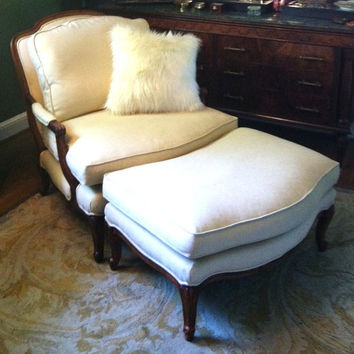 Gatsby House Bergere Wood frame Chair and Ottoman in cream