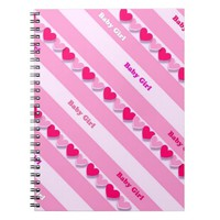 baby girl-with hearts and stripes spiral notebook
