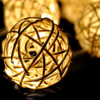 20 x home organic natural white handmade rattan ball beautiful outdoor decor string light display party wedding