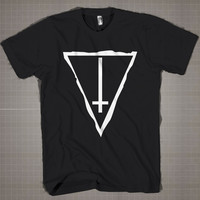 Inverted Cross Triangle Satanic  Mens and Women T-Shirt Available Color Black And White