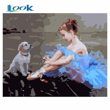 diy painting by numbers Girl  puppy figure painting animal canvas picture abstract paint painting by numbers wall art decoration