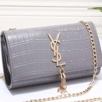 YSL Women Shopping Leather Metal Chain Crossbody Satchel Shoulder Bag