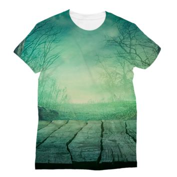 Porch Sitting Viewing the Misty Forest Subli Sublimation T-Shirt
