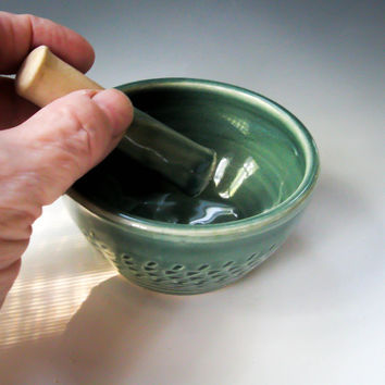 Small Mortar & Pestle, Pottery Pestle and Mortar, Green Mortar Pestle, Herb Grinder