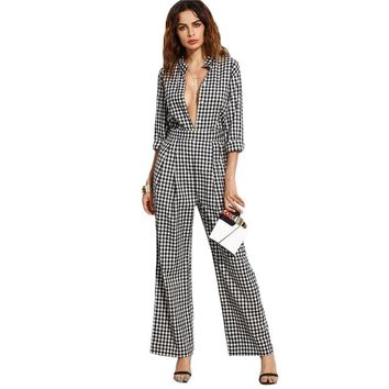 Gingham Collar Deep Neck Sexy Plaid Jumpsuit